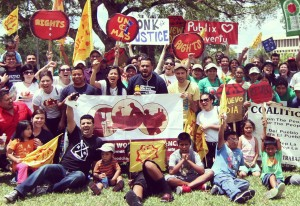 CIWC members join the Food Chain Workers Alliance united in supporting the Coalition of Immokalee Workers! in Coral Gables, Florida.