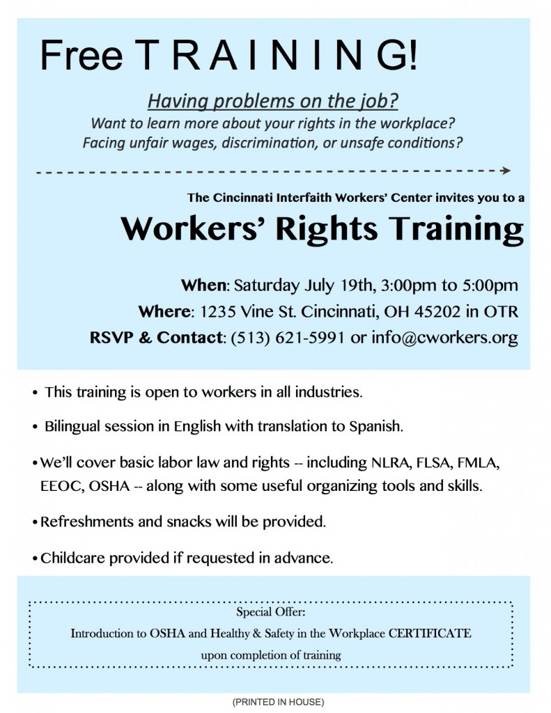 Workers Rights Training CIWC July 2014